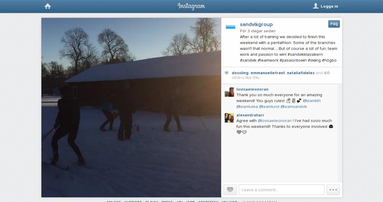 Sandvik använder Instagram och gör det på ett riktigt snyggt sätt. Varje vecka är det en ny medarbetare som tar hand om Instagramkontot. Bilderna är rakt in i vardagen i koncernen. Det är oslipat och äkta.  http://instagram.com/p/yR5cmiqPM2/?modal=true